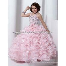Halter rebordeado rosa rizado escalonado por encargo vestido de baile desfile flor chica vestidos CWFaf4536