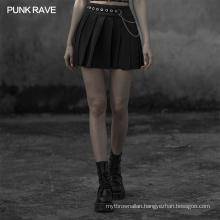OPQ-593 punk rave skort for women different folded ladies  beaded polyester skirt