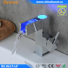 Bathroom LED Light Temperature Control Automatic Rectangle Faucet