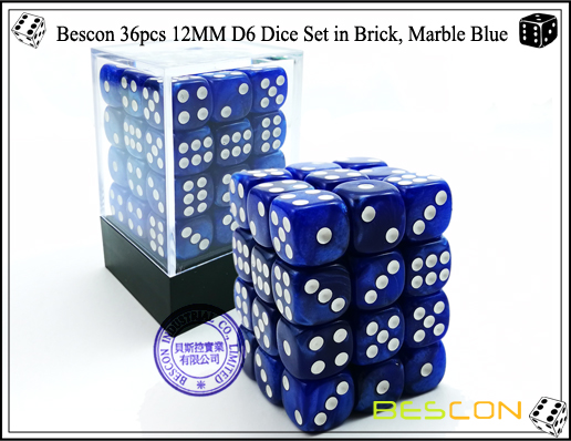 Bescon 36pcs 12MM D6 Dice Set in Brick, Marble Blue-1