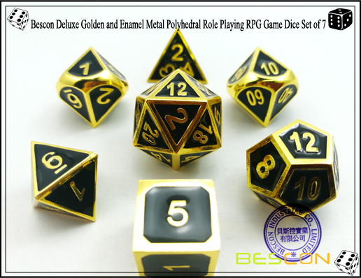 Bescon New Style Deluxe Golden and Enamel Solid Metal Polyhedral Role Playing RPG Game Dice Set (7 Die in Pack)-3