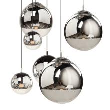 Modern Round Silver Hand Blown Glass Ball Pendant Lamp