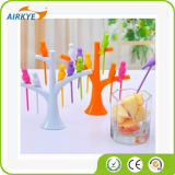 Birdie Fruit Forks Multicolored Birds On The Tree Shape Style Fruit Forks
