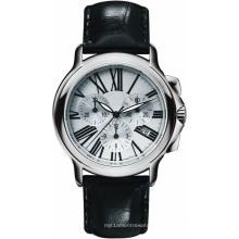 Unisexe Ss Case Ceramic Bezel Véritable Cuir De Veau Bande Qualité Timepiece