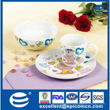 Décoration de dessin animé 3pcs porcelaine ustensiles de cuisine set de cadeaux pour enfants