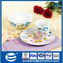 Cartoon decoração 3pcs porcelana utensílios de cozinha dom definido para crianças