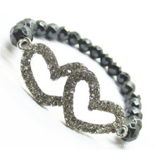 8MM faceted Round beads Stretch Hematite bracelet with double heart alloy