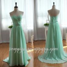 2016 Dress Design Fotos reais A-line Andar Comprimento Chiffon Emerald Green Vestido de noite barato em Dubai 2014 DE305