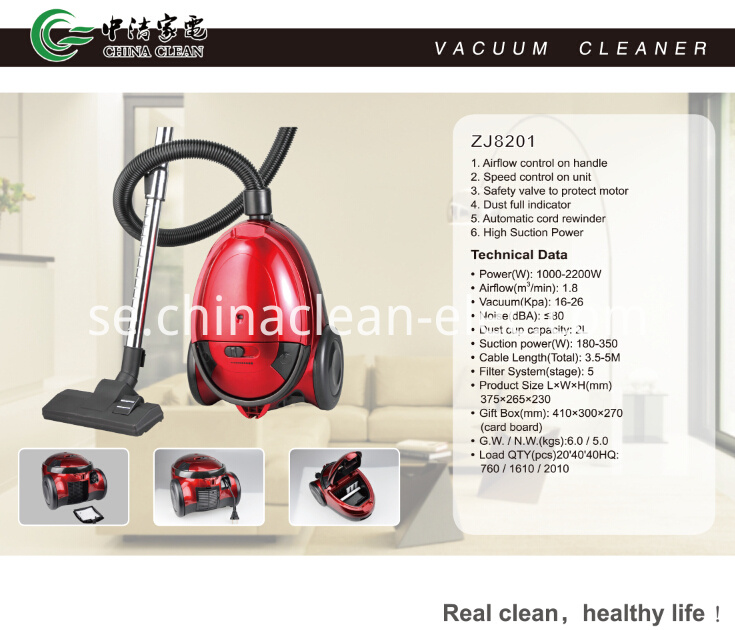 Color Optional Bagged Vacuum Cleaners