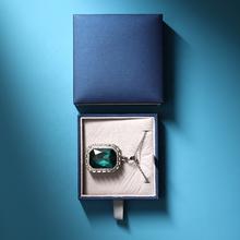 Boîte d'emballage de bijoux en cuir bleu