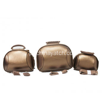 Golden PU Cosmetic Suitcase
