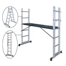 La plataforma de trabajo y la estructura de andamios y las escaleras plegables cuentan con una escalera móvil