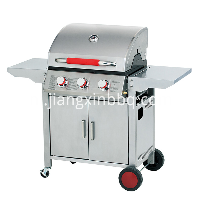 3 Burners Gas Grill With Foldable Side Tables With Red Wheel And Handle
