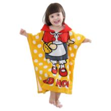 Детский купальный халат с рисунком из микрофибры, пончо