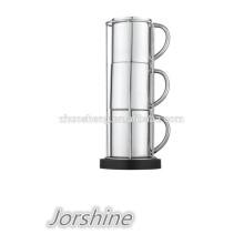 taza de acero inoxidable de doble pared de café de diseño nuevo set KT008