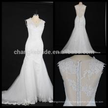 El vestido de boda profundo atractivo del neckline de v nuevo llega los vestidos de boda de lujo del diseño del cordón