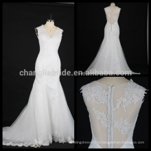 Sexy глубокий V-образным вырезом свадебное платье новое прибытие роскошные кружева дизайн свадебного платья