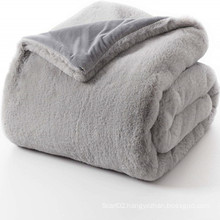 Reversible Rabbit Faux Fur Throw Blanket