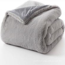 Cobertura reversível do lance da pele do falso do cobertor