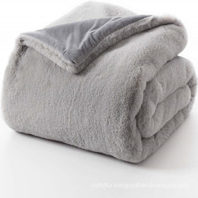 rabbit fur fluffy faux suede throw and blanket
