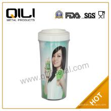 16oz BPA frei Kunststoff Auto Cup mit Papier einfügen