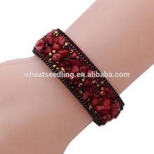 Sparkle cristal botton couro wrap pedra natural grânulo pulseira pulseiras de pedra sorte