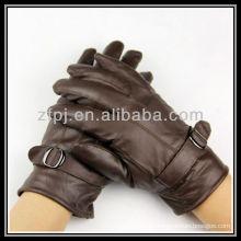 Hombres cuero genuino marrón smartphone guante