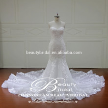 Sweetheart Applique wedding dress Chinese wholesale sleeveless mermaid bridal gown
