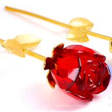 Lindo cristal rosa vidro flor romântico valentim presente para doce amor