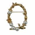 Broche de oro del círculo de la flor y del pájaro plateado de moda para las mujeres