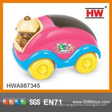 17cm coloridos b / o desenhos animados mini brinquedo do carro da música com luz 3D