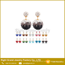 Rhinestone Double Crystal Disco Ball Shamballa Earring Studs