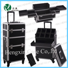 Aluminum Trolley Makeup Case, Cosmetic Vanity Beauty Case (HX-GT002)