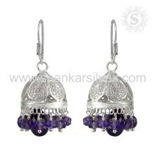 Geminação com Gemastone com aquecimento de coração Brinco de ametista Jóias de prata artesanal Jhumka Earring Supplier