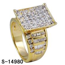 18k banhado a ouro jóias anel de prata 925