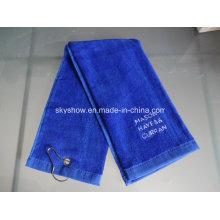 100% serviette de golf en tissu de velours de coton avec le logo de broderie (SST1019)