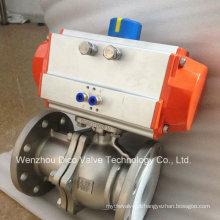 Válvula de esfera de flutuação flangeada de aço inoxidável 2PC pneumática com 304L