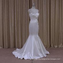 Brillantes lentejuelas llamaradas Vestidos de novia de sirena satinado