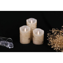Real paraffin wax birch led pillar candle