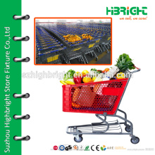 180l plastic shopping cart with metal frame