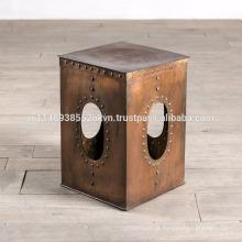 Cubeta industrial de cobre de ferro revestido acabado mesa lateral