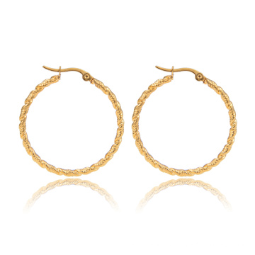 Women Stainless Steel Twisted Round Circle Gold Plated Hoop Earring
