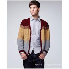Fashion Design Cotton V Neck Striped Sweater Cardigan