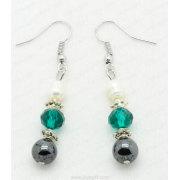Fashion Jewelry Hematite Crystal Earring Dengan Mutiara Air Tawar