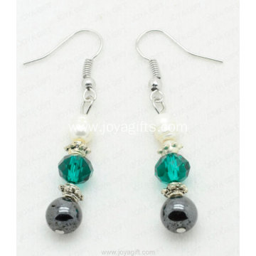 Fashion Jewelry Hematite Crystal Earring With Freshwater Pearls