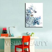 Pintura moderna do pássaro na lona para a decoração da parede