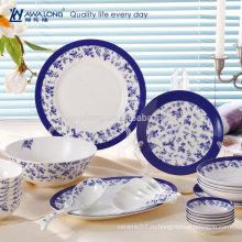 28pcs Оптовый голубой фарфор фарфора точная китайская установленная столовая посуда