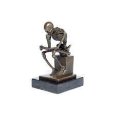 Classic Deco Skeleton Thinker Sculpture Art Craft Bronze Statue Tpy-298