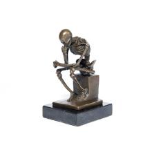 Clássico Deco Esqueleto Pensador Escultura Art Craft Bronze Estátua Tpy-298