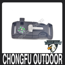 Wholesale plastic buckle with whistle fire starter and compass